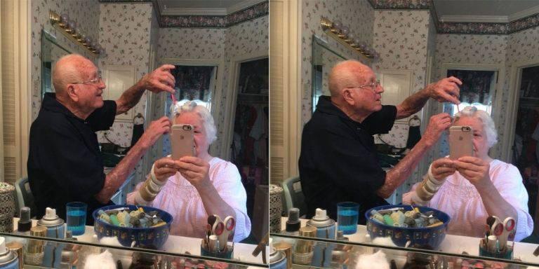 Внучка выложила фото, как ее дед делает бабуле прическу, и оно моментально распространилось по Сети!