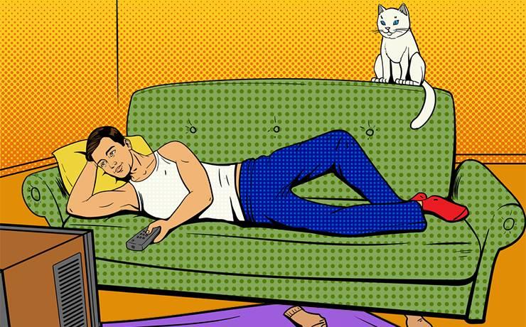 Если ваш мужик лежит на диване, значит, это вы его туда уложили