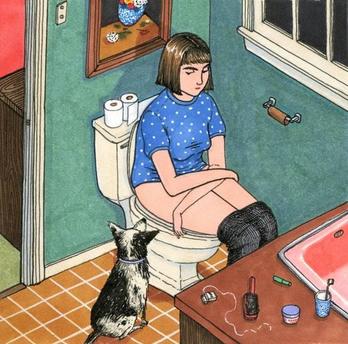 Иллюстратор создает правдивые картинки о том, как женщина проводит время, пока никто ее не видит
