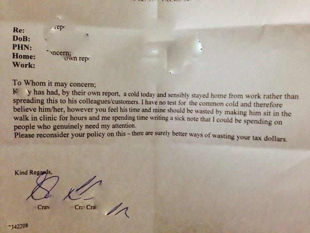 Босс требовал от подчиненного справку о болезни, и тогда его врач написал начальнику ЭТО письмо