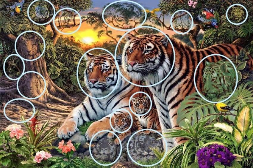 Сколько тигров изображено на этой картине? Гораздо больше, чем вы думаете!