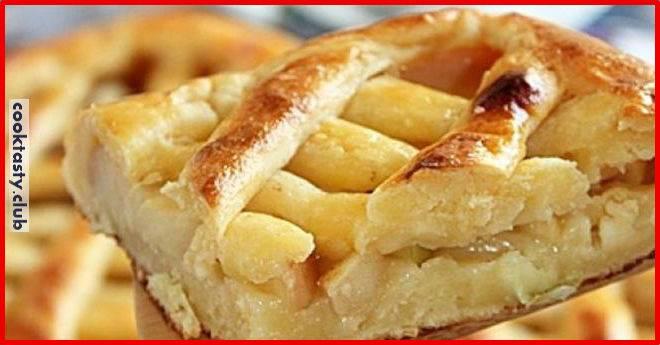 Творожно-овсяный пирог с яблочной начинкой