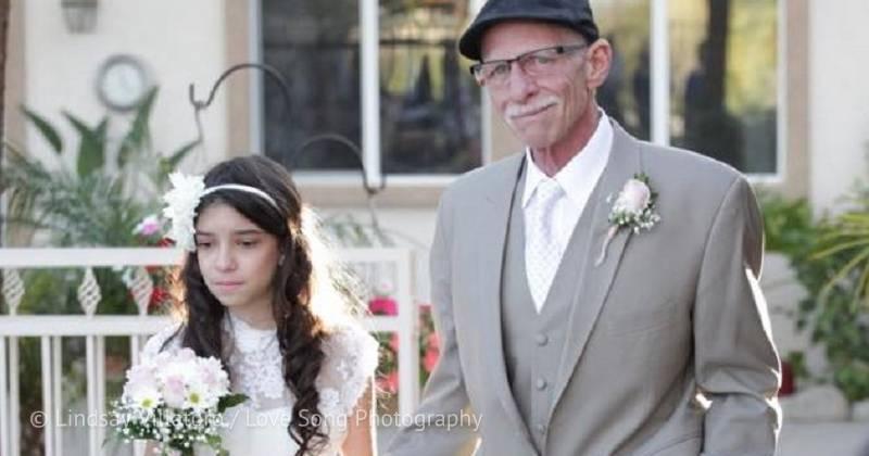 Смертельно больной отец осуществил мечту 11-летней дочери — прошел с ней свадебный путь к алтарю
