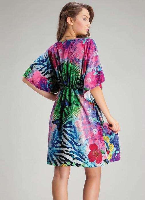 Удобное платье-кафтан для летнего отдыха. Выкройки на размеры 36-56