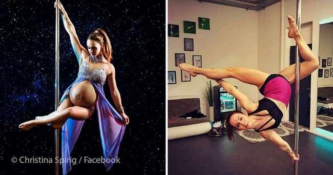 Молодец или ненормальная? За 2 часа до схваток беременная танцовщица еще кружилась на пилоне