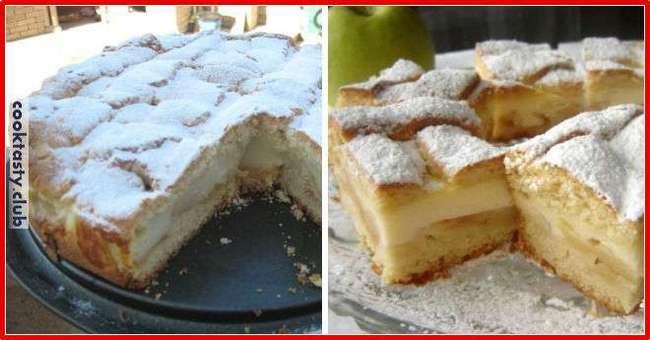 Яблочный пирог с пудинговым кремом