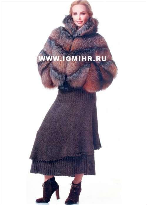 Коричневая теплая юбка, связанная по кругу сверху вниз спицами