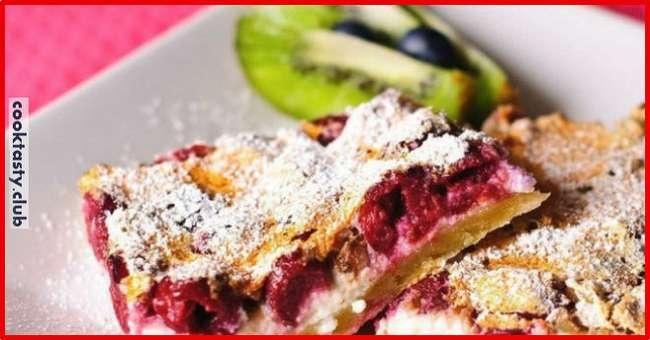 Творожно-овсяные пирожные с вишней