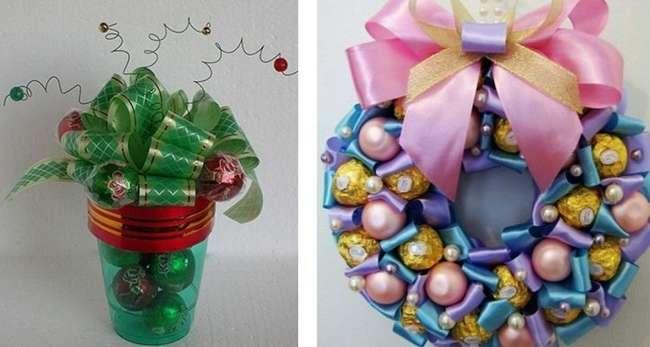 Новогодние подарки из конфет своими руками