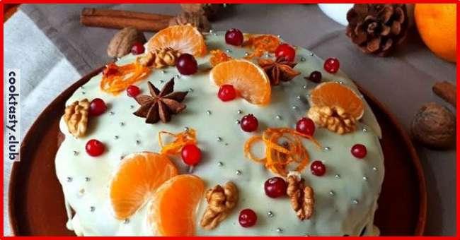 Постный апельсиновый рождественский кекс