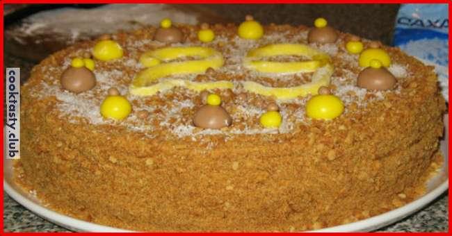 Торт «Медовый пух» с заварным кремом
