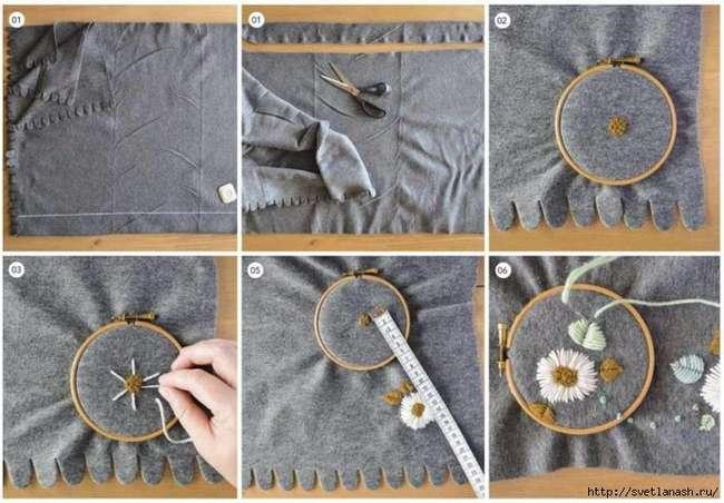 Теплая женская накидка с вышивкой - без пошива