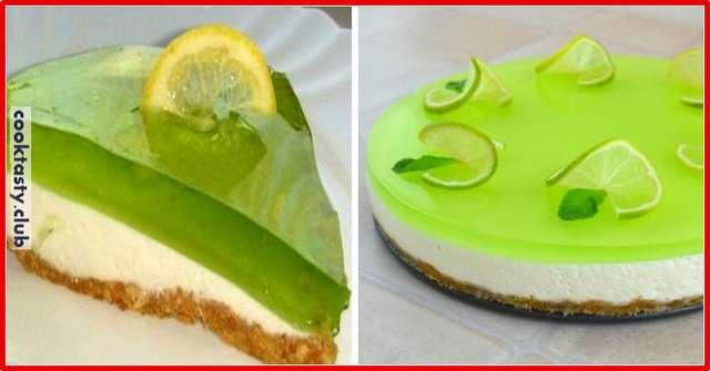 Лаймовый желейный торт без выпечки