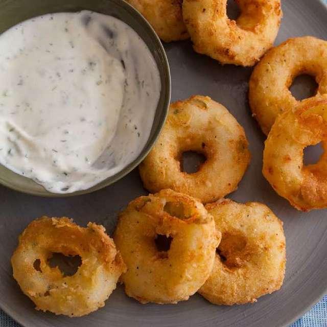 Картофельные кольца с пахтовым соусом (обезжиренными сливками). Рецепт