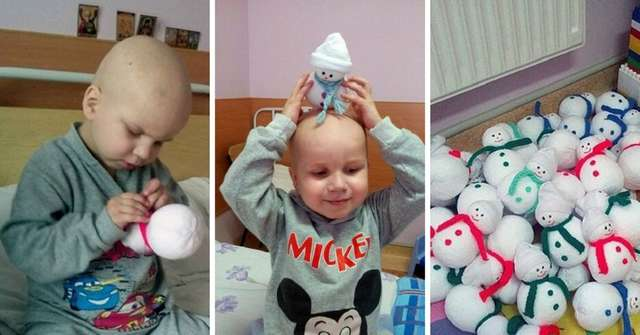 4-летний больной лейкозом Андрей шьет снеговиков, чтобы собрать деньги на лечение. Прошло 4 года.