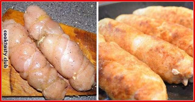 Рулеты из куриной грудки с нежной начинкой