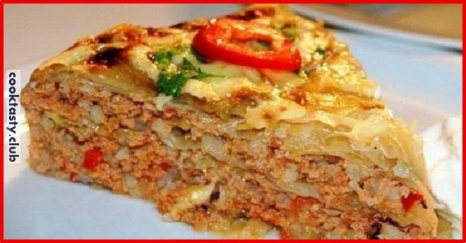 Мясной пирог с капустой