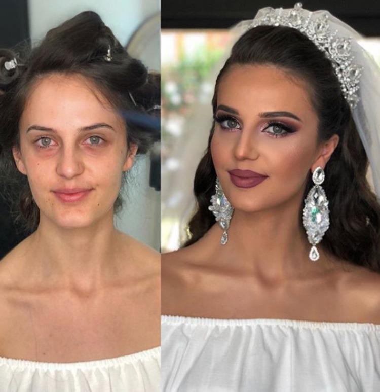 Визажист продемонстрировал, как выглядят девушки в образе невесты и в реальной жизни