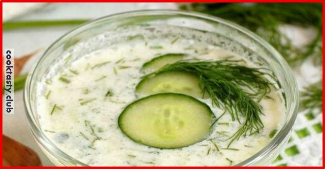 Огуречный суп на кефире с зеленью