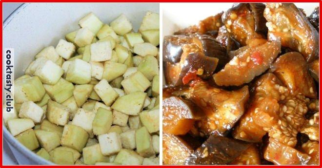 Острое блюдо из баклажанов с чесноком
