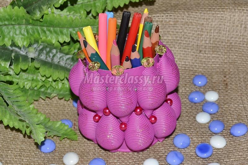 Создаём карандашницу — поделку из макарон своими руками