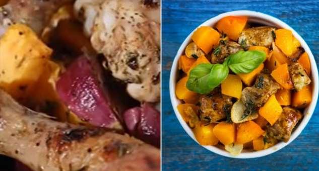 Инструкция по приготовлению курицы с тыквой и орехами